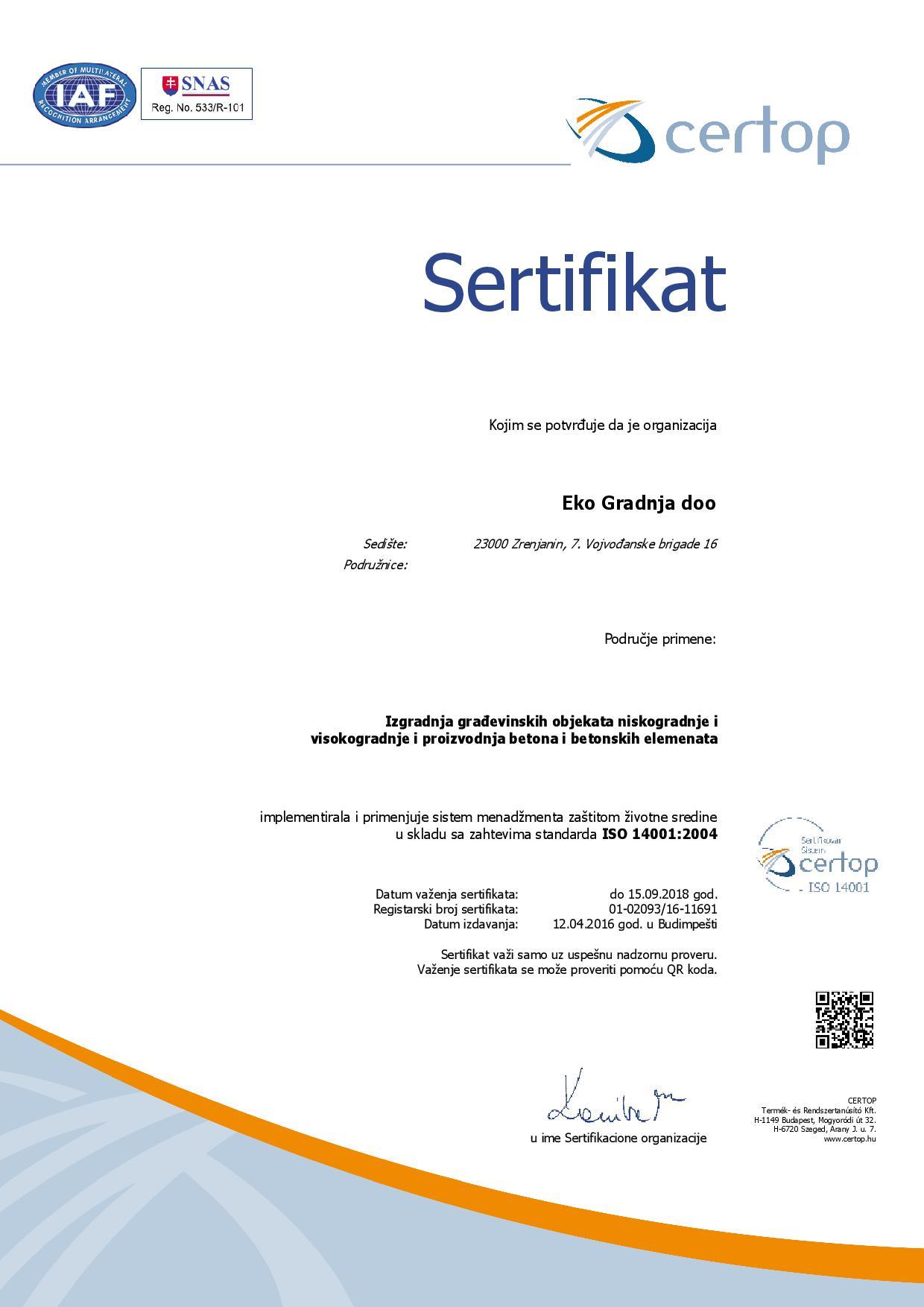 certificate-14001